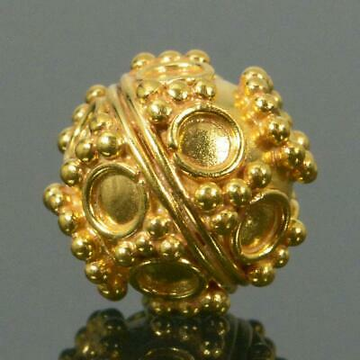 10.55mm Gold Vermeil Sterling Silver Bali Granulation Bead 24K Gold-Plated 1.85g