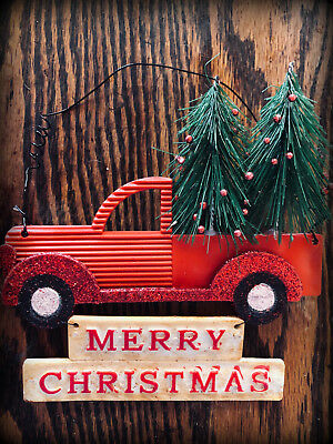 vintage old Red Farm Truck Christmas Ornament Tree Decoration 5x5 farmhouse