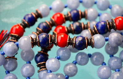 Aquamarine Lapis Lazuli Red Coral Hand Knotted Mala Beads Necklace - Karma Nirva