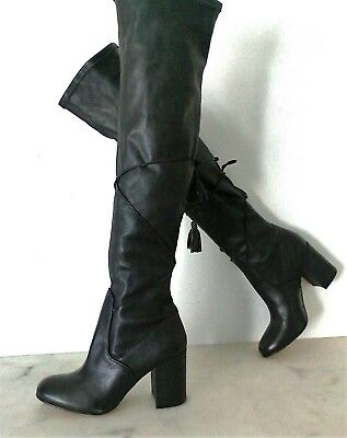 99c71d44dad RACHEL ZOE Women s 5.5 M Robin Black Stretch Leather Over The Knee Boots