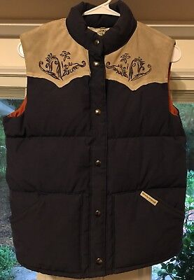 Vintage William Barry Men's Small Insulated Vest Navy Blue/Suede Cowboy Western