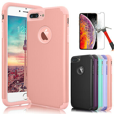 For iPhone XS X 6 6S 7 8 Plus Shockproof Phone Case Cover with Screen Protector