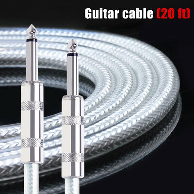Guitar Cable Cord Straight 20ft OFC Braided Low Noise for Electric Guitar Parts