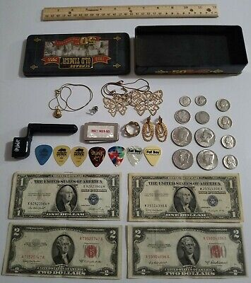 Junk Drawer Lot Silver Coins and Paper Money