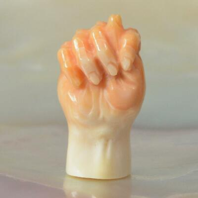 Mano Fico Protective Hand for Amulet Charm Apricot Trumpet Shell Carving 2.53 g