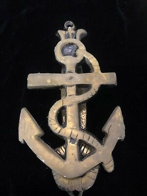 Vintage SOLID BRASS ANCHOR ROPE DOOR KNOCKER nautical decor maritime Yacht Boat