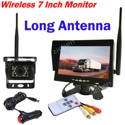 "Wireless 7"" LCD Rear View Monitor +Truck Bus RV IR Night Vision Reversing Camera"