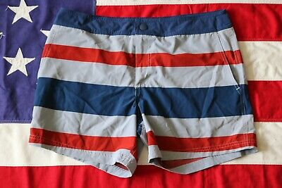 5201decfb2 CLASSIC CHUBBIES MENS LARGE STRIPED BLUE RED GRAY Board Swim Trunks Board  Shorts