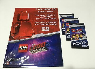lego movie 2 minifig 3 trading card packs & album with BATMAN red foil NEW VIP