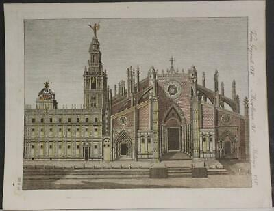 Sevilla The Cathedral Spain 1780 Bertuch Unusual Antique Copper Engraved View