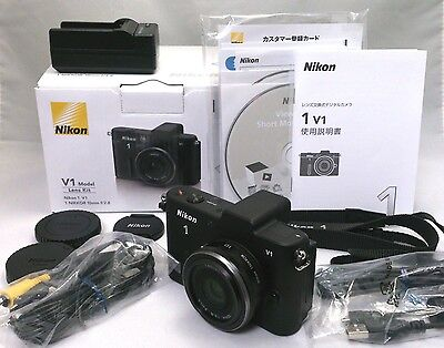 Nikon 1 V1 + 1 NIKKOR 10mm F2.8 Lens Kit Boxed and extras  [Mint] From Japan