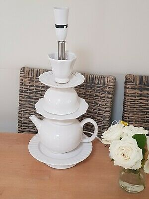 White French Shabby Chic Tea Set Table Lamp