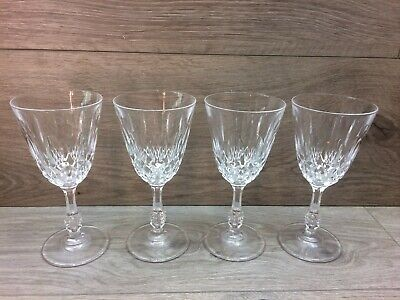 Set Of 4 Crystal Glass Wine Glasses With Faceted Stem - 160mm Tall