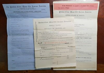 1888 3 x Provident Clerks Mutual Life Assurance Association Policy Forms