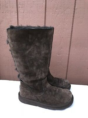 70d4e616ed2 $230 UGG ROSEBERRY BOOTS BROWN SUEDE TALL LACE UP BACK SHEEPSKIN FUR ...