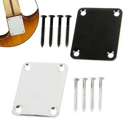 Guitar Neck Plate for Fender Strat TL Bolt On Style with 4 Screws One Rubbermat