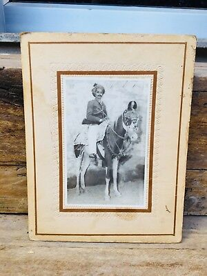 Vintage Old Genuine Indian King On Horse  Black And White Photograph