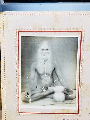 Vintage Old Genuine Hindu Ritual Saint With. Comandal Black And White Photograph