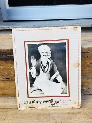 Vintage Old Genuine Hindu Ritual Saint With Bless Black And White Photograph