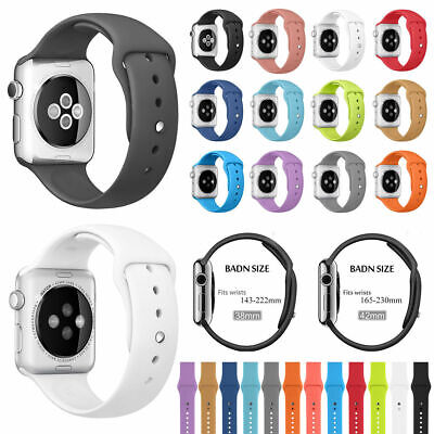 For Apple Watch Series 4 3 2 1 40mm/44mm Replacement Silicone Sport Band Strap