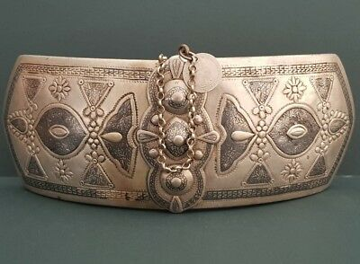 RARE ANTIQUE 1856 bulky Ottoman North Greece nielo silver alloy belt buckle