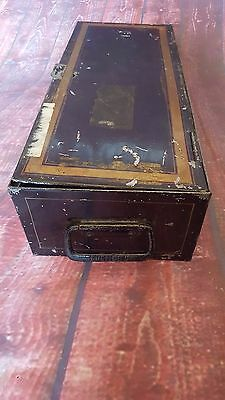 Vintage Metal Deed Document Box Storage Display Money Box Industrial Milners