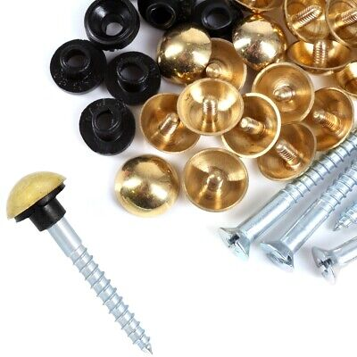 """x 8g MIRROR SCREWS WITH CHROME DOME CAPS /& PROTECTIVE RUBBER GROMMETS 1/"""" 25mm"""