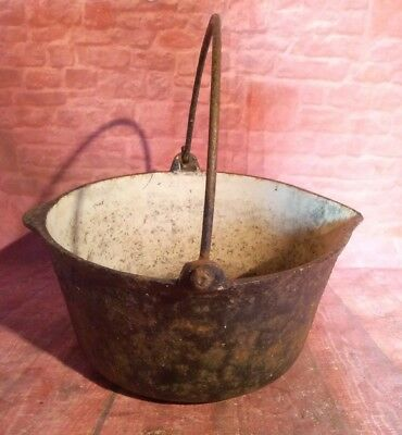 Antique Vintage Black Cast Iron Gypsy Cooking Pot Pan Planter Display Handle