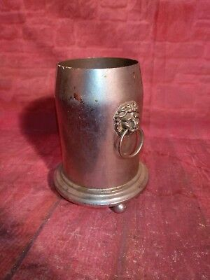 Vintage Old Metal Heavy Wine Bottle Holder Ice Bucket Lion Head Handles 1938