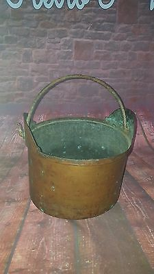 Antique Old 19th Century Copper Cooking Cauldron Gypsy Stove Planter Log Basket