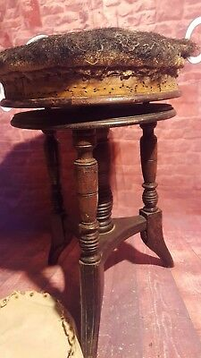 Antique Victorian Edwardian Old Wooden Adjustable Swivel Piano Music Seat Stool