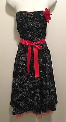 New Ruby Rox Retro Pinup B&W Floral Red Corsage Strapless Dress W Tulle Skirt 11