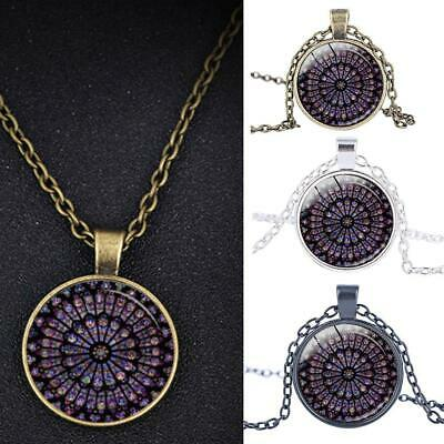 Rose Window Stained Glass Notre Dame de Paris Cathedral Pendant Necklace 2019