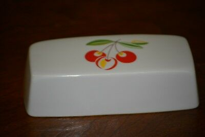 """Ceramic Triple Cherry Rectangle Butter Dish Lid Only 6 1/8"""""""