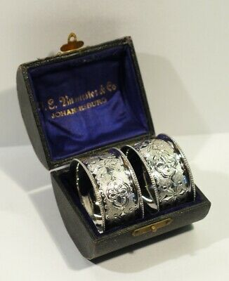 Cased Pair of Antique Silver Plated Chased & Foliate Engraved Napkin Rings C1900