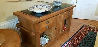 Lovely Marble topped,solid wood dual sided cabinet, ideal as a  kitchen island
