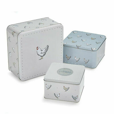 Square Cake Tins Set of 3 Farmers Kitchen Chickens Design by Cooksmart