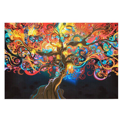 Modern Fashion Psychedelic Trippy Tree Abstract Art Silk Cloth Poster 20x13 Inch
