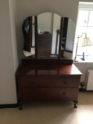 Antique 2 drawer dressing table with three mirrors