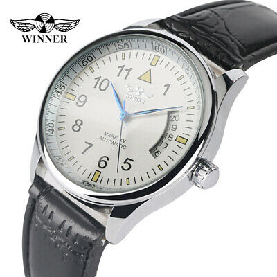WINNER Black/White Dial Automatic Mechanical for Mens Watch Ideal Gift