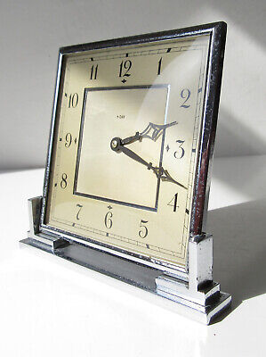 Rustic 1930's Smiths Art Deco 8 Day Chrome Desk Clock - Pitting, Needs attention