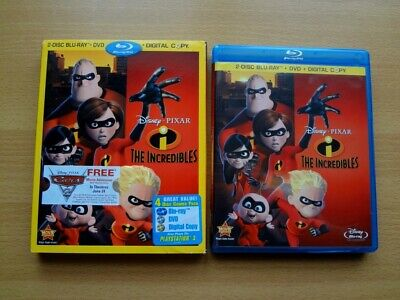 The Incredibles Blu Ray (4 disc combo pack) Rare Embossed Slipcover REGION ALL