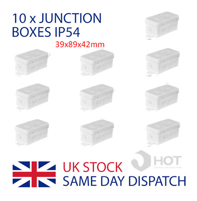 10 x Waterproof IP54 Junction Boxes 39x89x42mm