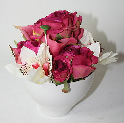 Artificial Silk Flowers Realistic Orchid Rose Flower Arrangement in Ceramic Pot.