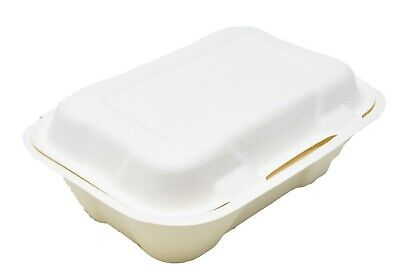 "VEGWARE 7""x 5"" (18 x 13cm) REG BAGASSE CLAMSHELL FOOD BOX WHOLESALE PACK OF 500"