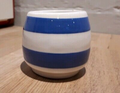 Vintage retro Staffordshire Chefware blue white stripe ironstone very pot eggcup