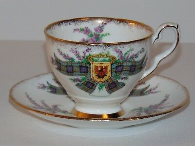 Vintage Rare Royal Stafford English Bone China Tea Cup Set Macdonald Tartan