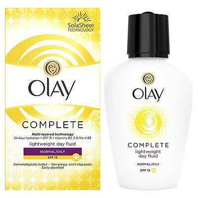 2 x Olay Complete Lightweight Day Fluid Normal Spf15 100ml Each Non Greasy Face