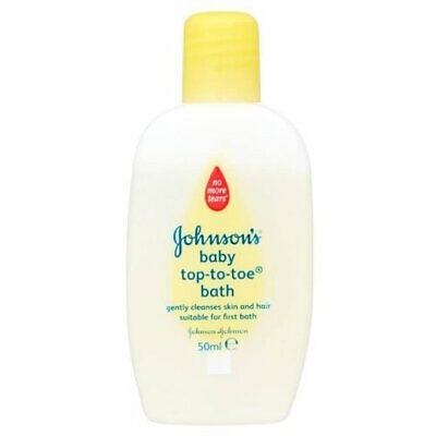 4 x Johnsons Top-To-Toe Baby Bath 50ml Each Travel Size Newborn Skin & Hair