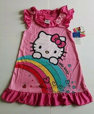 9cb600fce Hello Kitty Girl Pink Night Gown Pajama Nightwear with Bow NWT 100%  Polyester